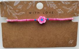 Armbandje bloem roze 2mm