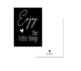 Kaartje A7 - enjoy the little things - zwart