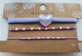 Armband set purple hart (3)
