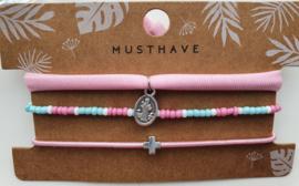 Armband set kruis roze / blauw