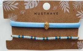 Armbandjes blauw boeddha