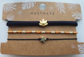 Armband set lotus zwart (13)
