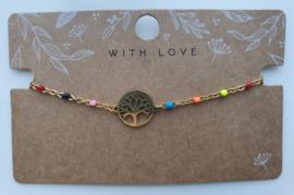 RVS gouden armbandje primair life tree