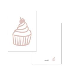 Kaartje A7 - Cupcake roze