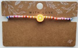 Armbandje rainbow sinaasappel  2mm