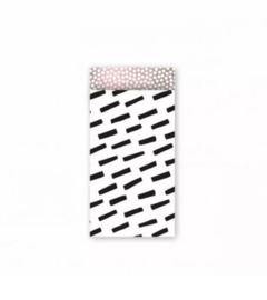 Stripes zwart/wit/roze - 7 x 13