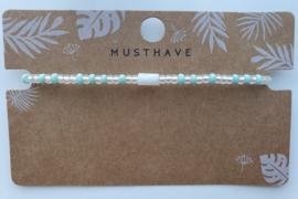 Armbandje crystal miyuki's en schelp tube mint / doorzichtig
