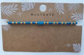 Armbandje crystal miyuki's en schelp tube blauw/goud