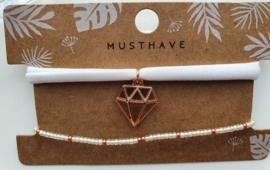 Armbandjes rose goud / wit diamant