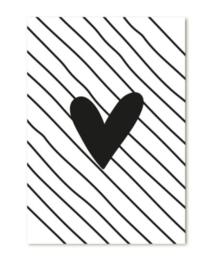 Mini kaartje - hartje streep