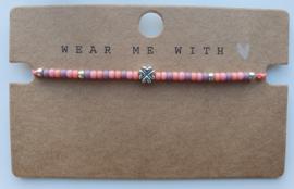 Armbandje roze/paars zilver miyuki 3 mm (40)