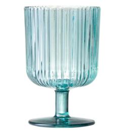 Wijnglas ribbel blauw