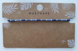Armbandje miyuki 2 mm blauw / zilver