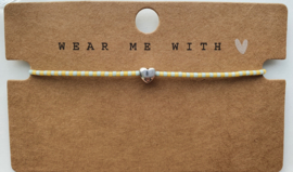 Armbandje geel / mint miyuki 2 mm hart zilver