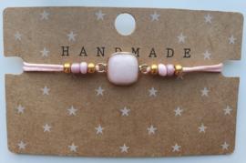 Armbandje natuursteen  blossom pink goud (24)
