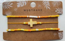 Armband set yellow cross