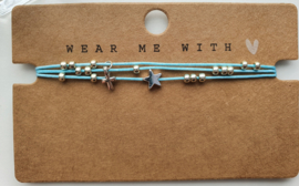 Armbandje 3 dubbele draad blauw zilver