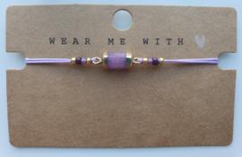 Armbandje hexagon natuursteen lavender purple goud (47)
