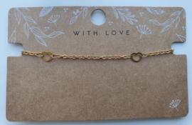 RVS gouden armbandje hartjes