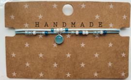 Armbandje dubbele draad blauw zilver
