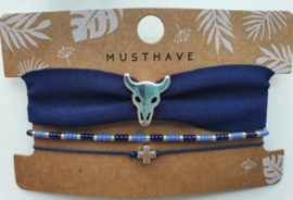 Armband set blauwe bull (9)