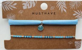 Armbandjes blauw crystal hanger