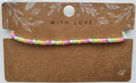 Enkelbandje neon rainbow 3mm