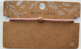 Armbandje roze miyuki 2 mm hart goud