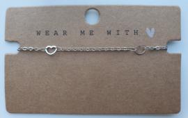 RVS zilveren armbandje hartjes