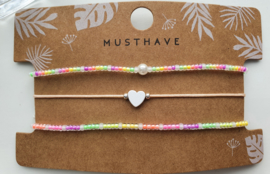 Armband set neon rainbow pearl