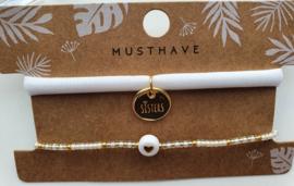 Armbandjes goud / wit sisters