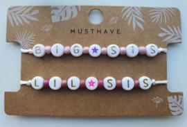Armbandjes big en lil sis roze/paars (8)