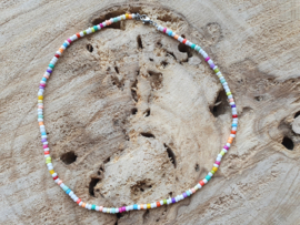 Ketting rocailles multi color (zilver)