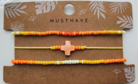 Armband set orange cross