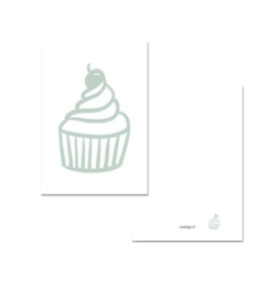 Kaartje A7 - Cupcake mint