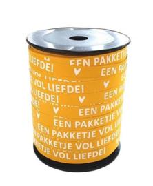 Lint 'pakketje vol liefde' geel (10 mm)