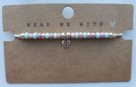 Armbandje Hartje roze/mint (43)