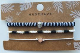 Armband set boedha zebra (11)