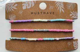 Armband set soft colors zilver