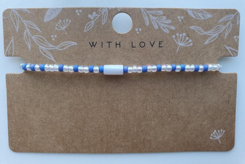 Armbandje crystal miyuki's en schelp tube blauw / doorzichtig