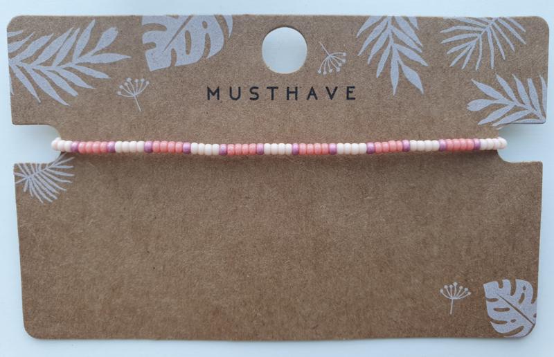 Armbandje miyuki 2 mm roze