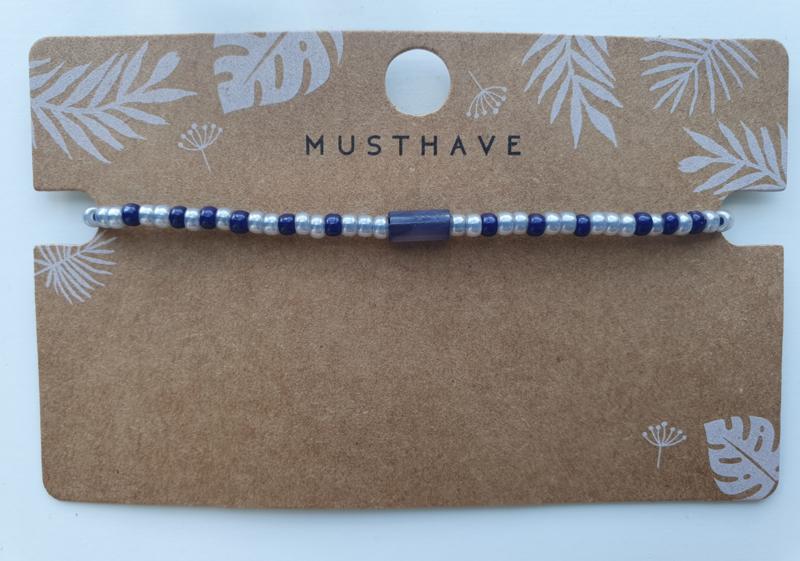 Armbandje crystal miyuki's en schelp tube donker blauw/grijs