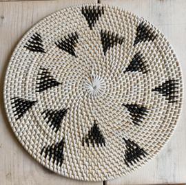 Placemat rattan 35 cm naturel/zwart