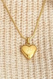As hanger hart met hondenpoot goudkleurig (zonder ketting)