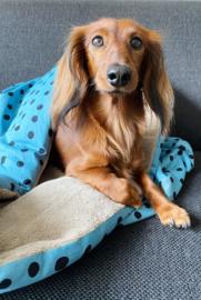 Honden slaapzak blauw met dots
