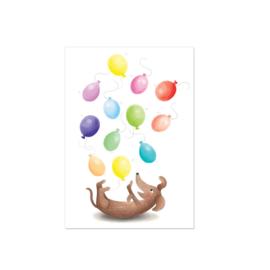 Teckelkaart met ballonnen