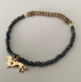 armband glimmend antraciet & hout 18 cm