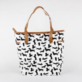 Brede tas met Teckel opdruk Wit en Zwart