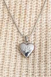 As-hanger hart met hondenpoot zilverkleurig (zonder ketting)