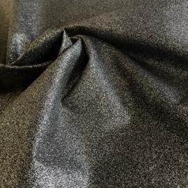 Zwarte katoen met zilver glittercoating